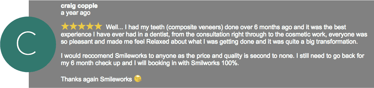 5 star google review veneers