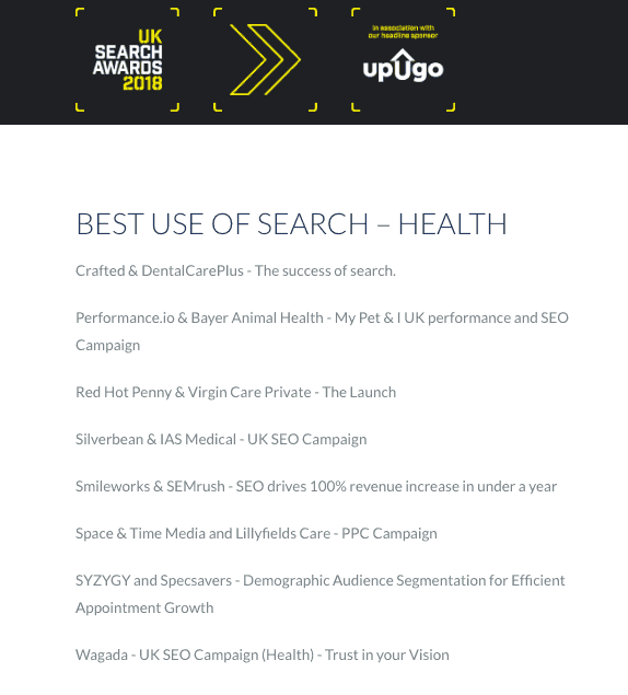 UK Search Awards Shortlist