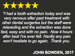 John Bowden oral surgery five star testimonial