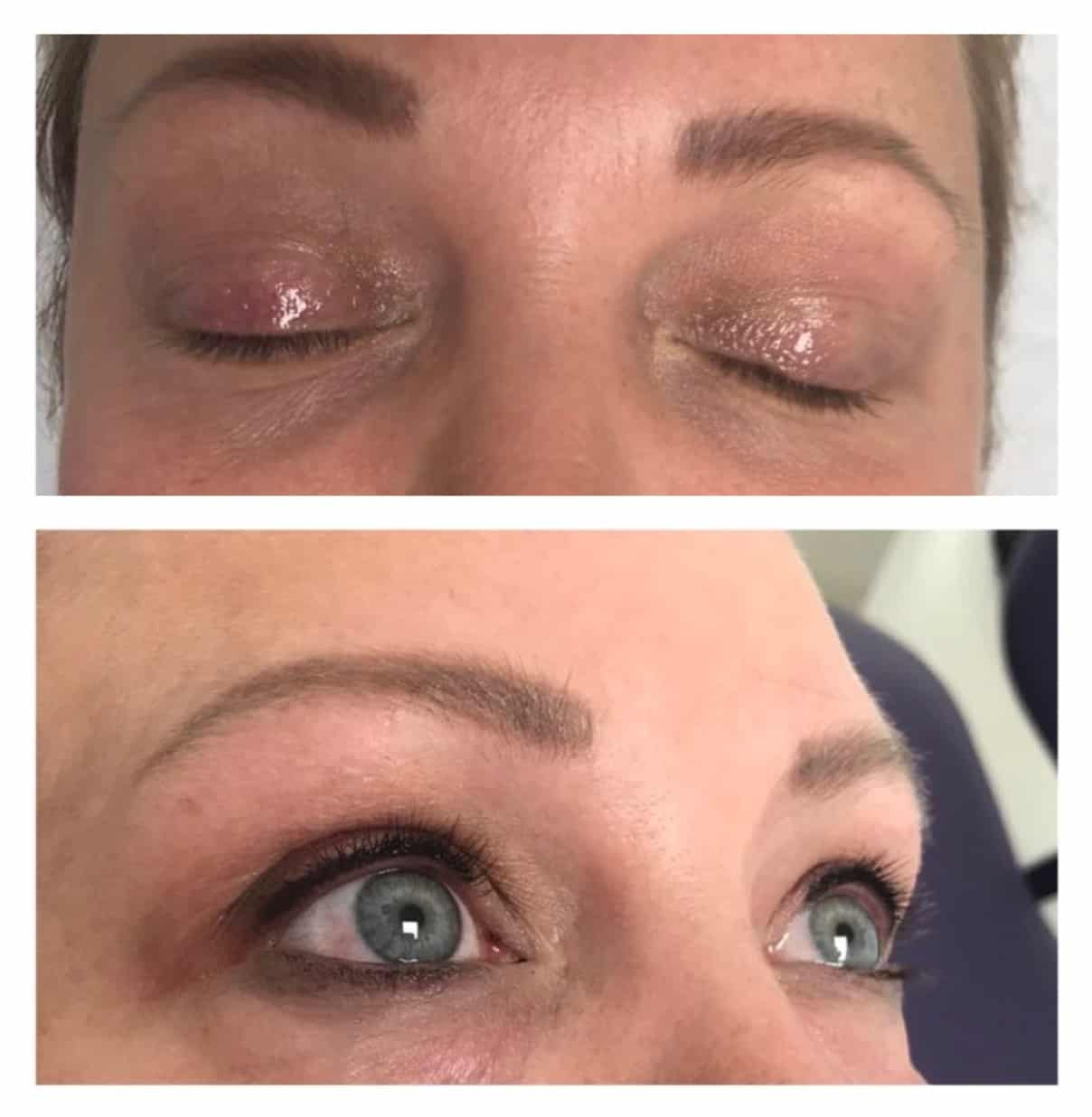 Defined look upper lid eyeliner before and after