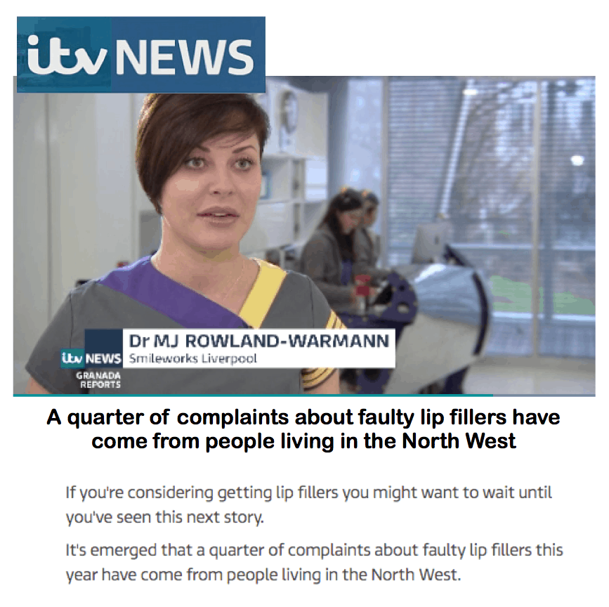 ITV News <br/> <br/> A quarter of complaints about faulty lip fillers have come from people living in the North West