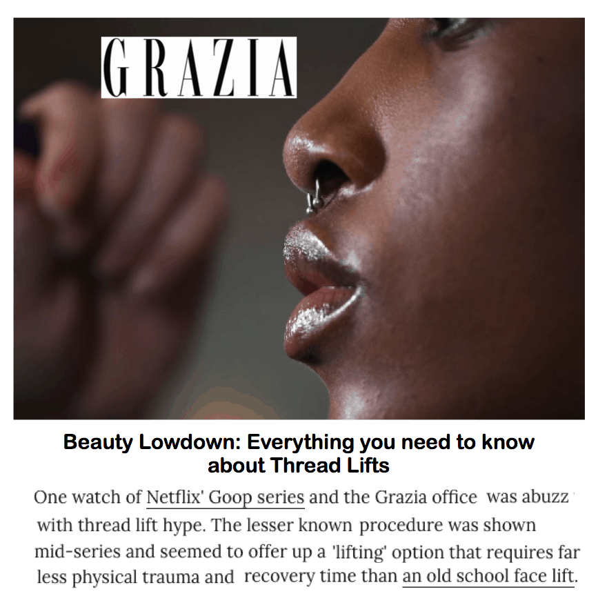 Grazia <br/> <br/> Beauty Lowdown: Everything You Need To Know About Thread Lifts