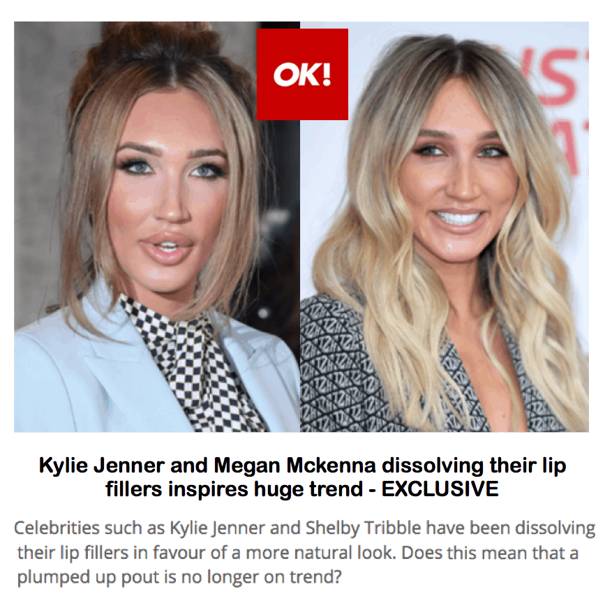 OK! Magazine <br/> <br/> Kylie Jenner and Megan Mckenna dissolving their lip fillers inspires huge trend – EXCLUSIVE